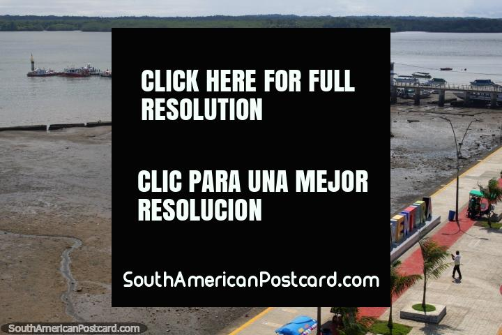 Tourist wharf in Buenaventura for boat excursions to beaches nearby, view from the lighthouse. (720x480px). Colombia, South America.