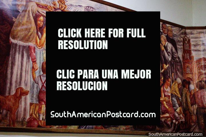 Jesus na cruz, uma pintura antiga no Senhor do Museu de Milagres em Buga. (720x480px). Colômbia, América do Sul.