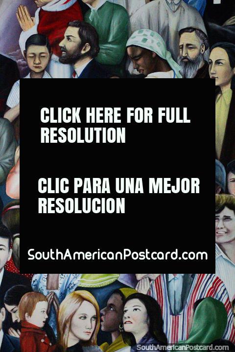 Pintar no museu local em Buga de pessoas que vêm para ver uma imagem de Cristo chamou o Senhor dos Milagres na catedral. (480x720px). Colômbia, América do Sul.