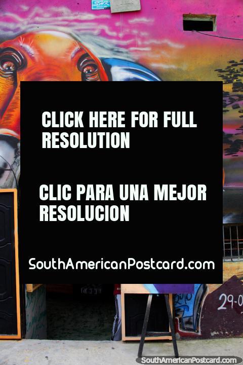 Galeria Graffilandia de arte e quadros murais de rua em Comuna 13, Medellïn. (480x720px). Colômbia, América do Sul.
