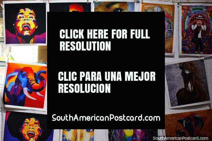 Fantastic prints from Graffilandia art gallery in Comuna 13 in Medellin. (720x480px). Colombia, South America.