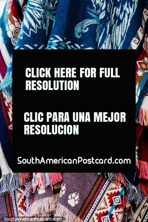 Shawls, colorful with nice designs, for sale in Jardin, stay warm at night. (480x720px). Colombia, South America.