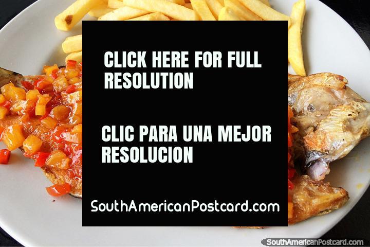 Comida de trucha hawaiana con pescado fresco, piña y verduras, comida deliciosa en Salento. (720x480px). Colombia, Sudamerica.
