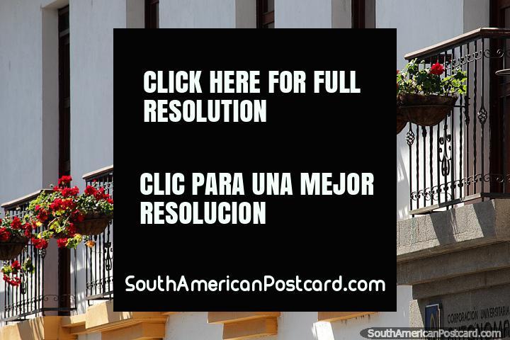 Flores de color rojo vivo bordean los balcones de un edificio en Popayán. (720x480px). Colombia, Sudamerica.