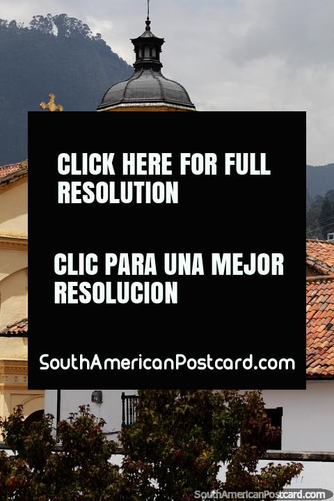 Beautiful view in Bogota of the La Candelaria Church and red-tiled roofs. (480x720px). Colombia, South America.