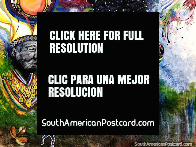 Homem indígena e um ritual de sapo, belo mural de rua em Sogamoso. (640x480px). Colômbia, América do Sul.