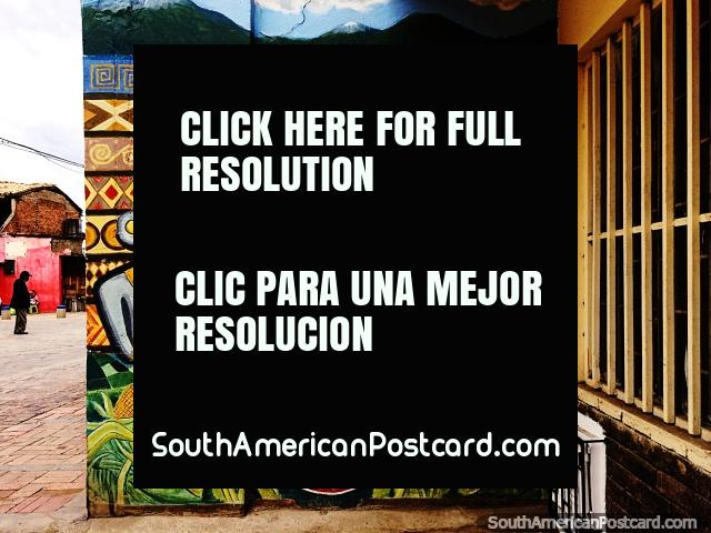 A cultura milenar de Sogamoso é retratada na arte de rua e nos murais da cidade. (640x480px). Colômbia, América do Sul.