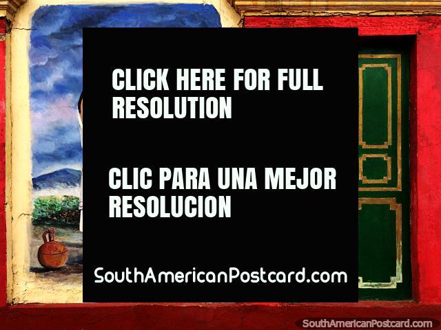 Culturas e rituais antigos retratados em murais de Edgar Diaz nos arredores de Sogamoso. (640x480px). Colômbia, América do Sul.