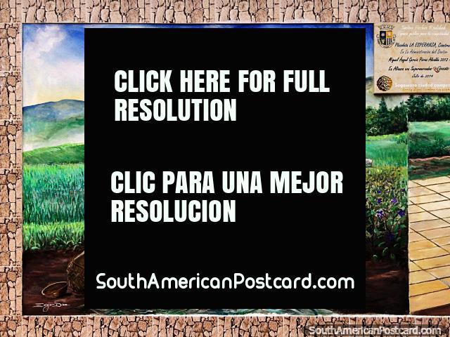 Uma mulher colhe cebolas e batatas nos lindos campos verdes, mural em Sogamoso. (640x480px). Colômbia, América do Sul.