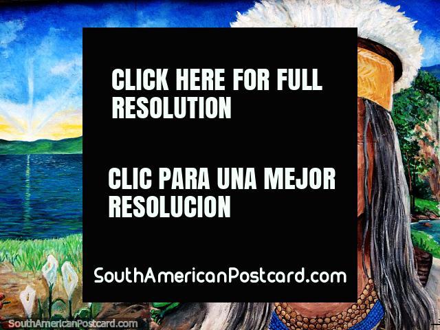 Indígena, sapo, beija-flor e urso à beira do lago, mural em Sogamoso. (640x480px). Colômbia, América do Sul.