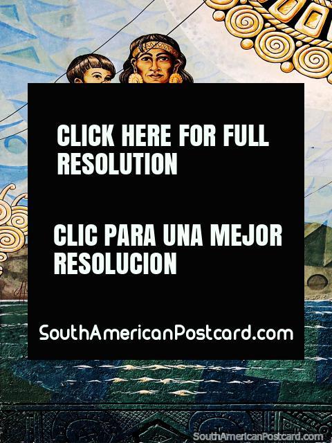 Mulher e criança podem andar sobre as águas, enorme mural em Sogamoso, uma cidade de culturas ancestrais. (480x640px). Colômbia, América do Sul.