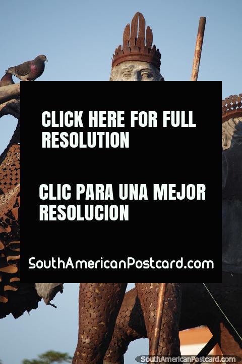 Monument in Neiva - Monumento Quinto Centenario - a tribute to locals. (480x720px). Colombia, South America.
