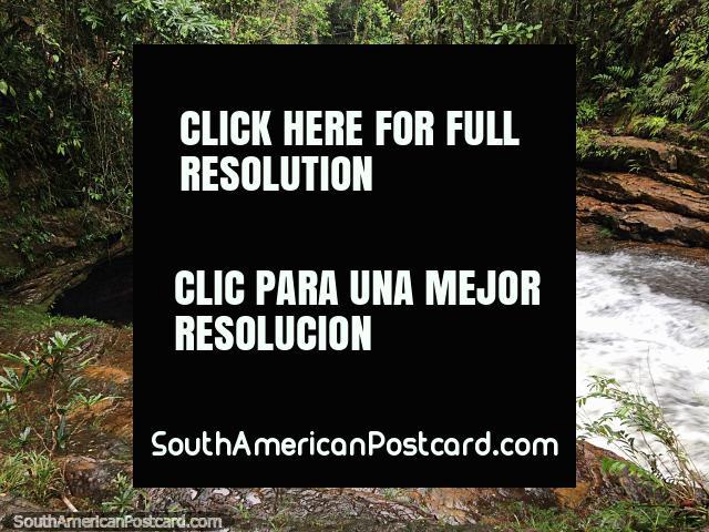 A água atravessa a selva em Mocoa enquanto caminhamos até a grande cachoeira. (640x480px). Colômbia, América do Sul.
