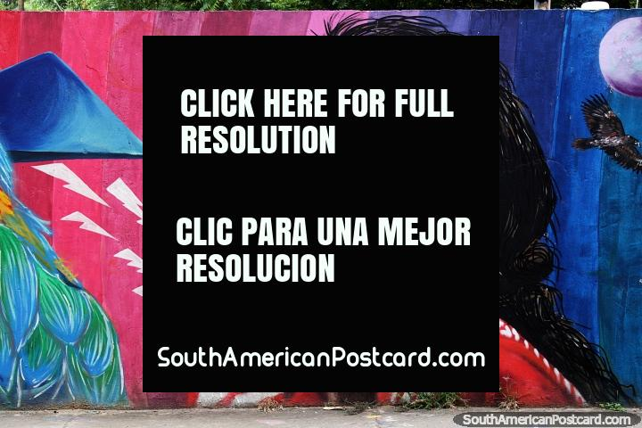Colorido arte callejero de una mujer indígena vestida de rojo, Villa del Rosario, Cucuta. (720x480px). Colombia, Sudamerica.