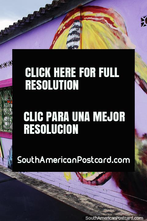 Indígena vestidos com penas coloridas, mural de rua na Villa del Rosario em Cucuta. (480x720px). Colômbia, América do Sul.