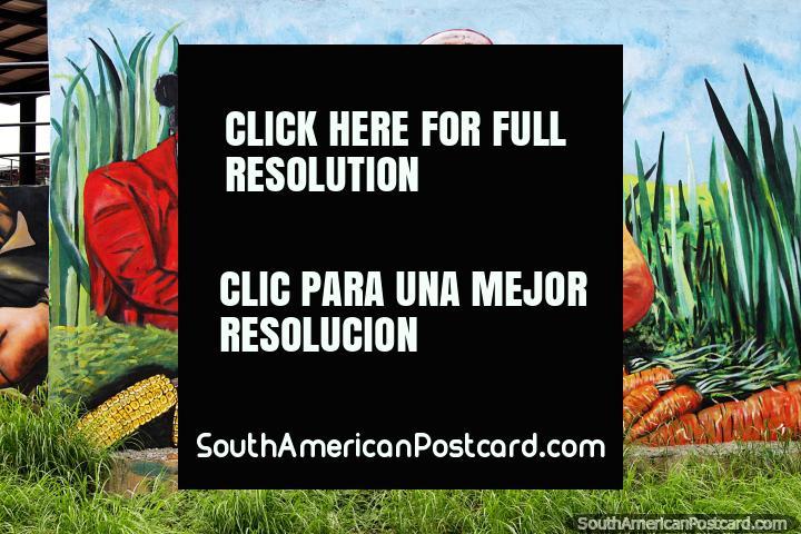 Las zanahorias y el maíz abundan en los campos, las mujeres recogen los productos, mural en Cúcuta. (720x480px). Colombia, Sudamerica.