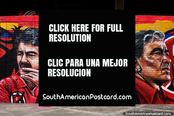 Mural of 3 important men at the soccer stadium in Cucuta. (720x480px). Colombia, South America.