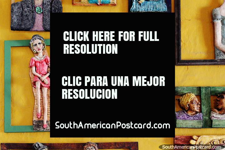 Ceramic portraits in 3 dimensions, great art in Santa Fe de Antioquia. (720x480px). Colombia, South America.