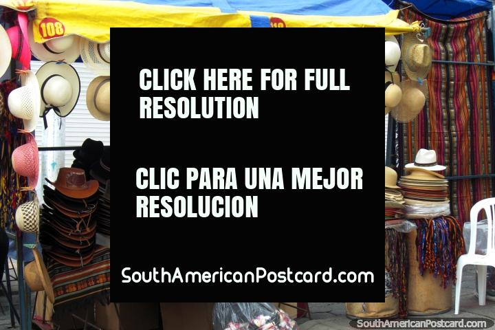 Colorful hats in Otavalo. (720x480px). Ecuador, South America.