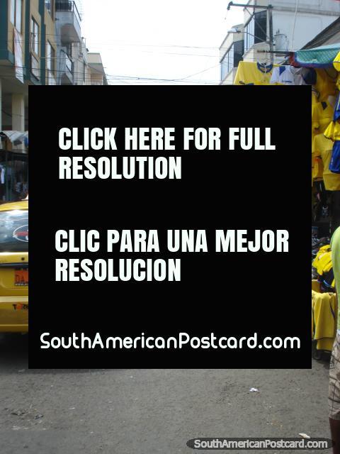 Ecuadorian soccer shirts in the Machala markets. (480x640px). Ecuador, South America.