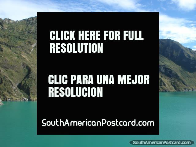 Quilotoa Laguna has a greenish color because of dissolved minerals. (640x480px). Ecuador, South America.