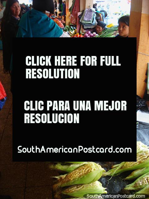 Otavalo food market, corn, beans, peas, fresh produce. (480x640px). Ecuador, South America.