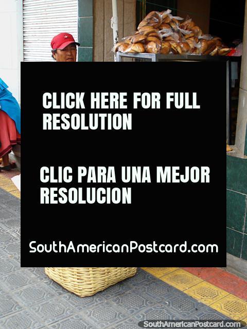 Fresh bread rolls for sale in Otavalo. (480x640px). Ecuador, South America.