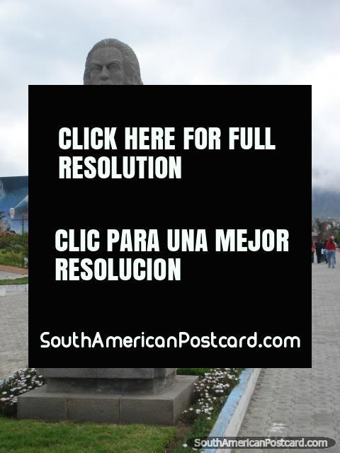 Pedro Vicente Maldonado statue at Mitad del Mundo. (480x640px). Ecuador, South America.