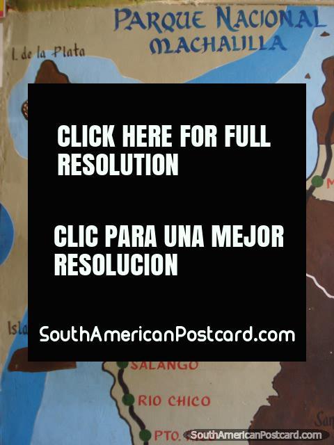 Map of Parque Nacional Machalilla, Isla de la Plata and Puerto Lopez area. (480x640px). Ecuador, South America.