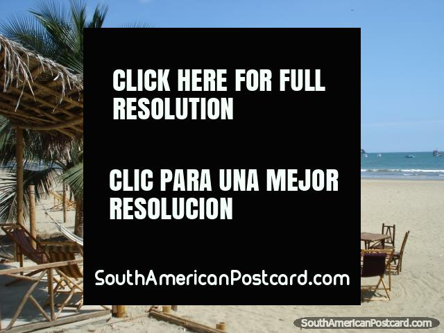 Puerto Lopez beach, lay in hammocks under palm trees. (640x480px). Ecuador, South America.