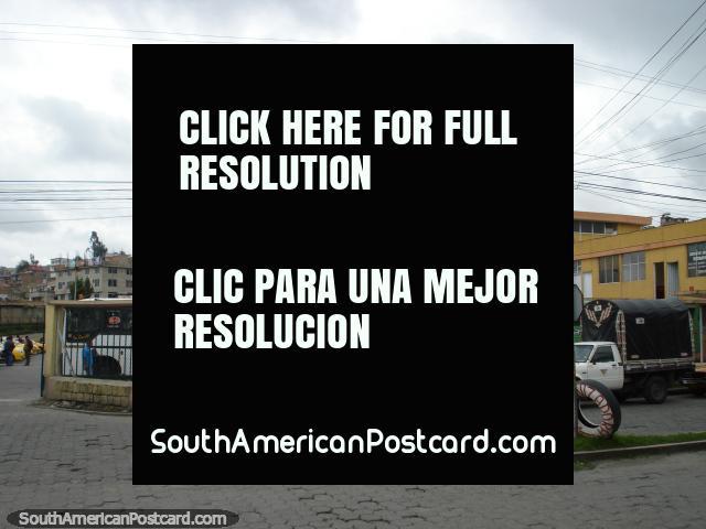 Tulcan bus terminal for buses or taxis to the border. (640x480px). Ecuador, South America.