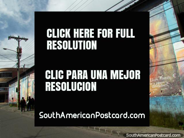 Wall art of 12 important men in Ecuador, Cayambe. (640x480px). Ecuador, South America.