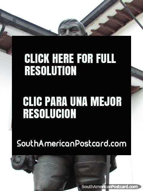 Statue of Spanish conquistador Sebastian de Belalcazar in Quito. (480x640px). Ecuador, South America.