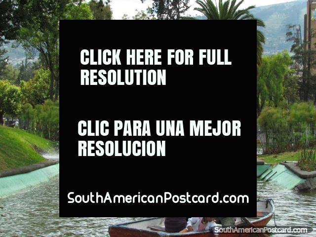 Quito locals enjoy paddling dinghies in the lake at park La Alameda. (640x480px). Ecuador, South America.