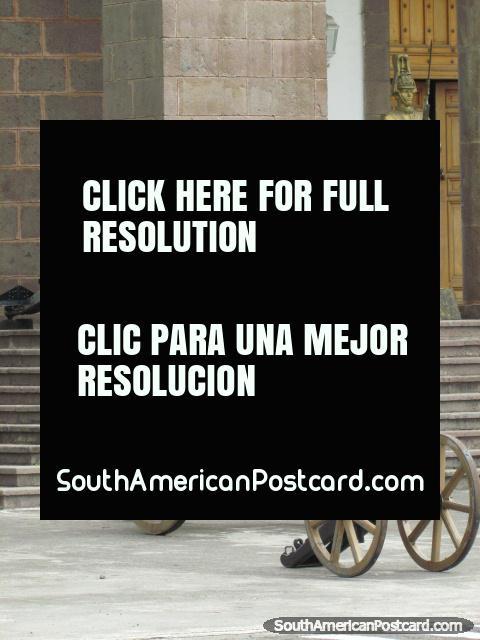 3 cannon at military college Colegio Militar Eloy Alfaro in Quito. (480x640px). Ecuador, South America.