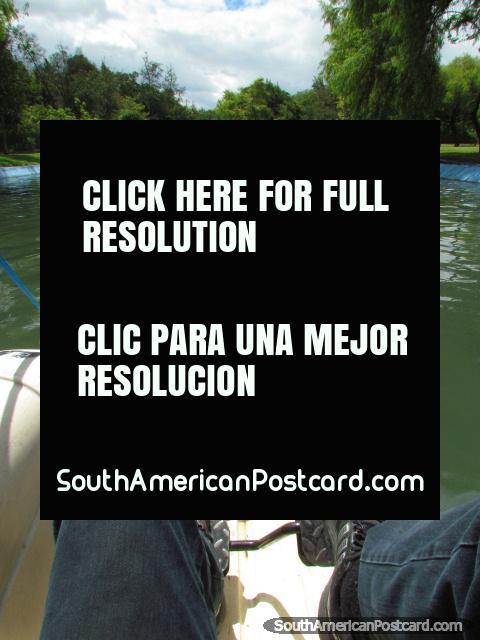 Riding a pedal boat in Parque Nautico 'La Carolina' in Quito. (480x640px). Ecuador, South America.