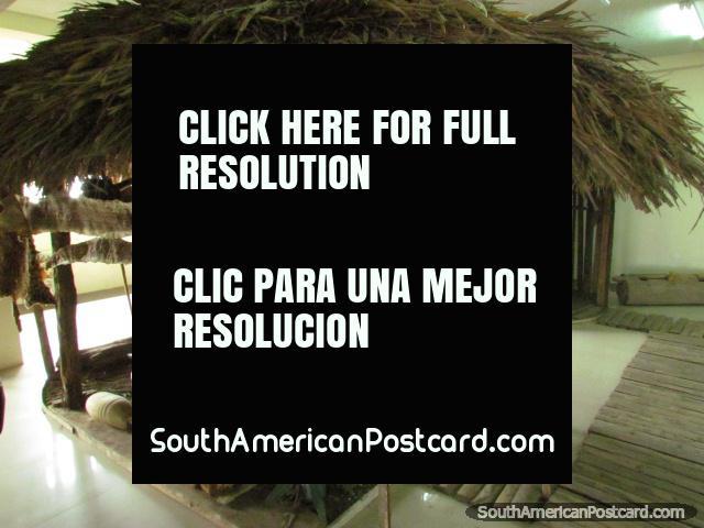 Jungle hut of the Achuar - an Amazonian community, Puyo museum. (640x480px). Ecuador, South America.
