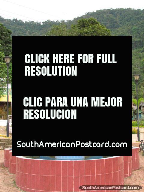 Parque San Francisco and water monument in Zamora. (480x640px). Ecuador, South America.