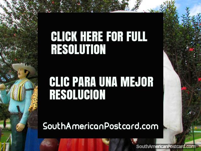 Monumento a pessoas locais em Parque Recreativo de Jipiro em Loja. (640x480px). Equador, América do Sul.