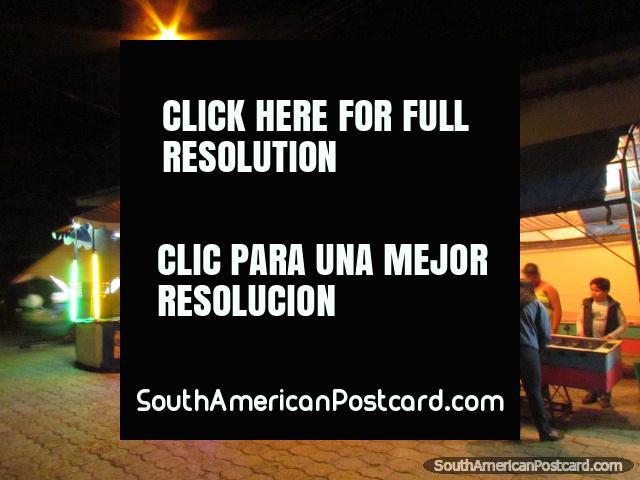 Vilcabamba night entertainment, table soccer and merry-go-round. (640x480px). Ecuador, South America.