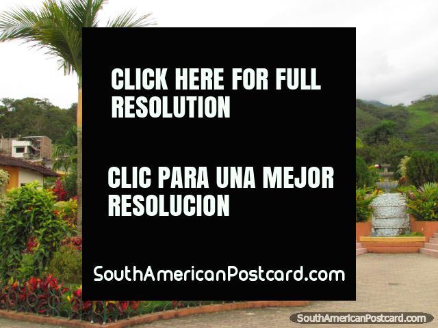 The beautiful park, gardens and church in Palanda south of Vilcabamba. (640x480px). Ecuador, South America.