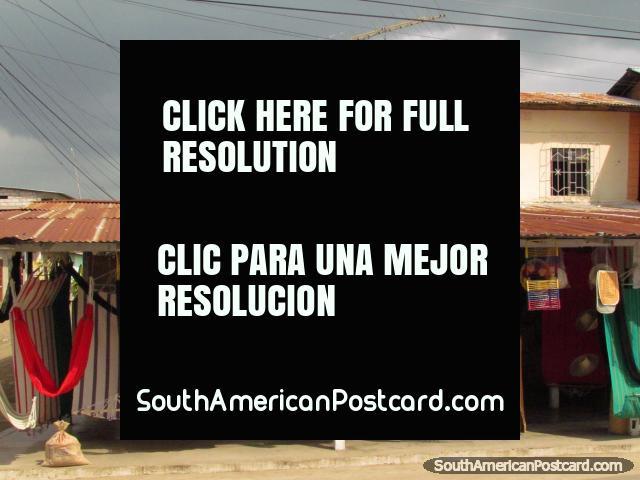 A roadside hammock shop between Lomas de Sargentillo and Pedro Carbo. (640x480px). Ecuador, South America.