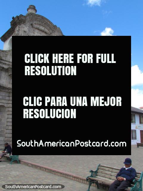 Church Iglesia San Francisco, grey, stone brick, Latacunga. (480x640px). Ecuador, South America.