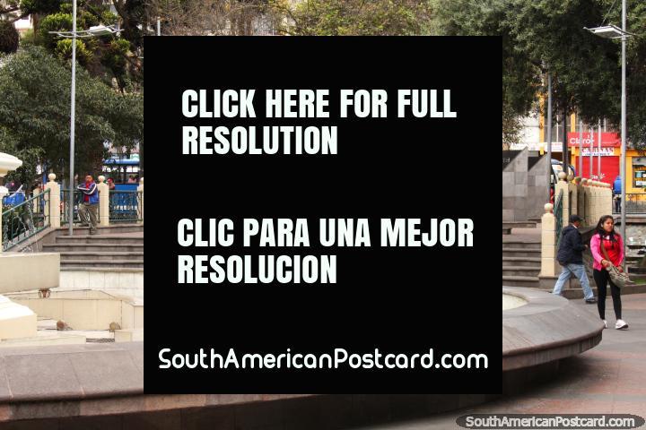Parque 12 de Noviembre with fountain in the Ambato city center. (720x480px). Ecuador, South America.