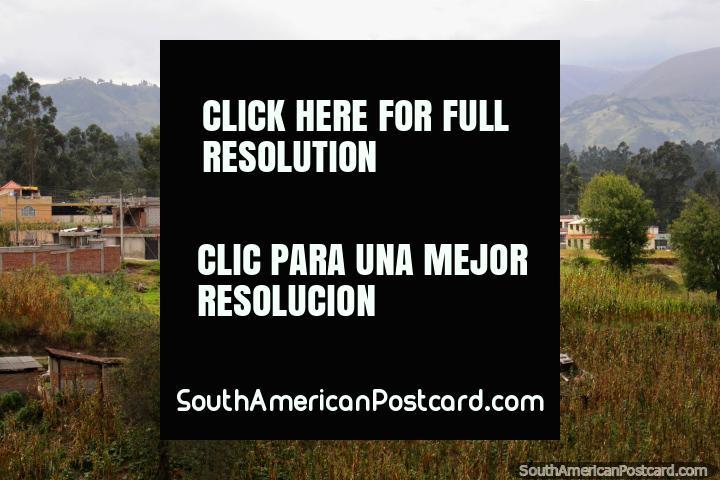 Houses, hills and corn fields around Guaranda. (720x480px). Ecuador, South America.