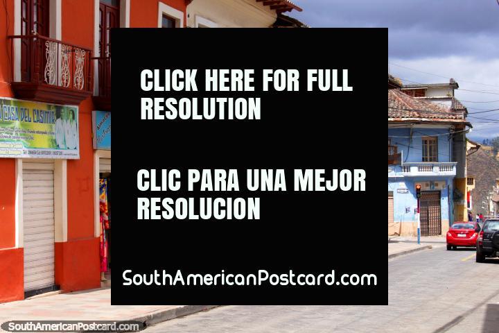 Street, shops and balconies in the center of Guaranda. (720x480px). Ecuador, South America.