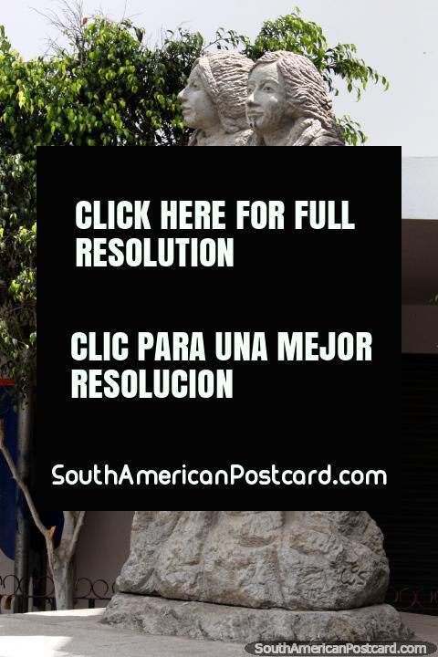 Hope lives on in the hearts of children, stone statue in Guaranda. (480x720px). Ecuador, South America.