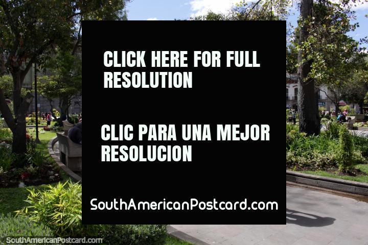 Parque Sucre, the nicest park in central Riobamba. (720x480px). Ecuador, South America.