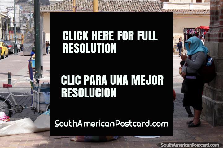 Beside Plaza Roja de la Concepcion in Riobamba, where they sell cloths. (720x480px). Ecuador, South America.