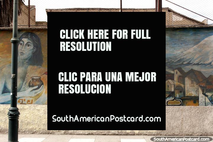 2 women, the city and the snowy mountain, mural in Riobamba. (720x480px). Ecuador, South America.